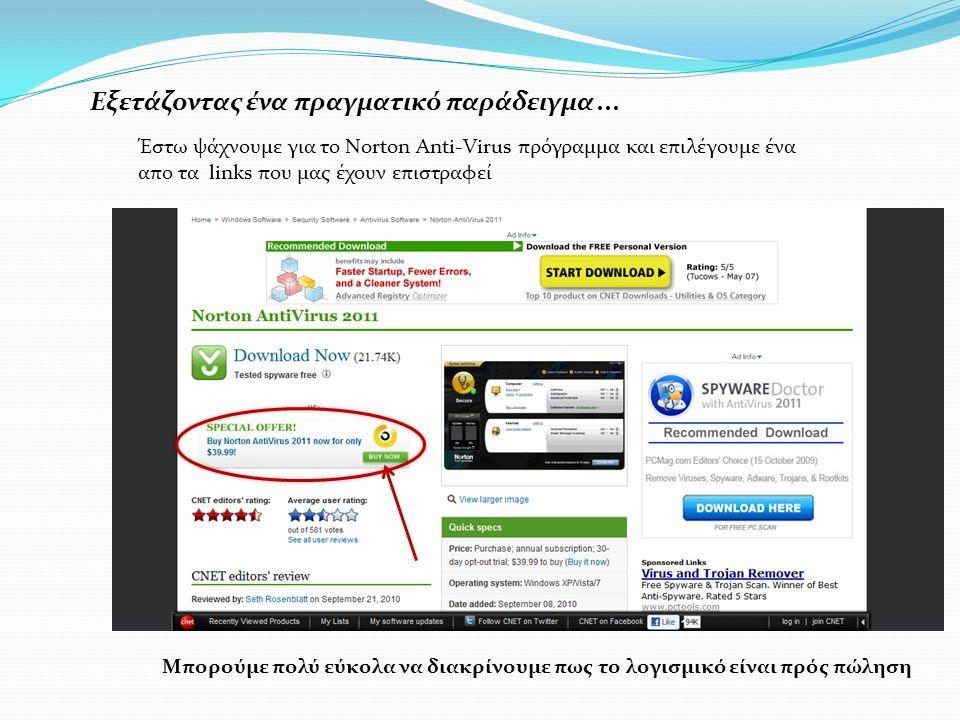 Εξετάζοντας ένα πραγματικό παράδειγμα... Έστω ψάχνουμε για το Norton Anti-Virus πρόγραμμα και επιλέγουμε ένα απο τα links που μας έχουν επιστραφεί Μπο