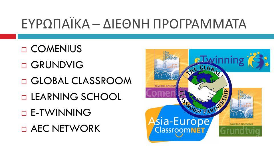 ΕΥΡΩΠΑΪΚΑ – ΔΙΕΘΝΗ ΠΡΟΓΡΑΜΜΑΤΑ  COMENIUS  GRUNDVIG  GLOBAL CLASSROOM  LEARNING SCHOOL  E-TWINNING  AEC NETWORK