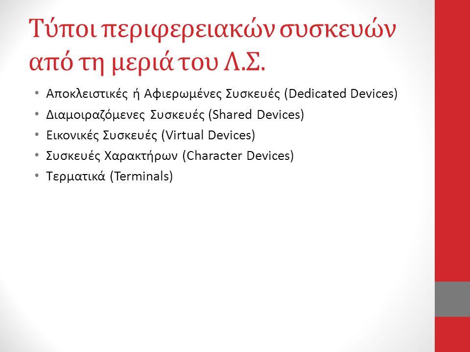 Τύποι περιφερειακών συσκευών από τη μεριά του Λ.Σ. • Αποκλειστικές ή Αφιερωμένες Συσκευές (Dedicated Devices) • Διαμοιραζόμενες Συσκευές (Shared Devic