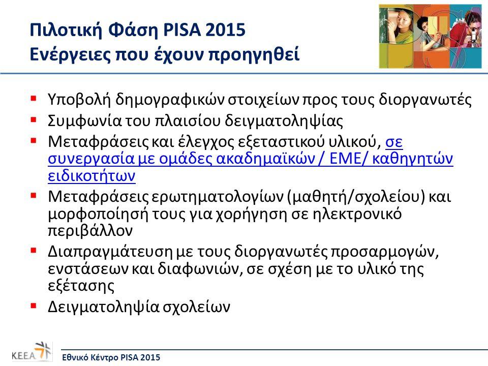 Πιλοτική Φάση PISA 2015 Επόμενα βήματα/υποχρεώσεις  Τελικός έλεγχος του υλικού σε ηλεκτρονική μορφή  Ετοιμασία βιβλιαρίων (έντυπη μορφή αξιολόγησης) και εκτυπώσεις  Μετάφραση Οδηγών: α) Σχολικού Συντονιστή, β) Υπεύθυνου Χορήγησης Δοκιμίου, γ) Κωδικοποίησης Ασκήσεων  Ετοιμασία εντύπων  Δειγματοληψία μαθητών (Φεβρουάριος 2014)  Ενημερωτικές συναντήσεις (Διευθυντών, Σχολικών Συντονιστών, Υπεύθυνων Χορήγησης Δοκιμίου)  Τεχνικός έλεγχος καταλληλότητας Η/Υ  Καταρτισμός προγράμματος εξεταστικής περιόδου  Διαχείριση αποστολής/επιστροφής εξεταστικού υλικού  Εκπαίδευση Υπεύθυνων Χορήγησης Δοκιμίου και Υπεύθυνων Κωδικοποίησης