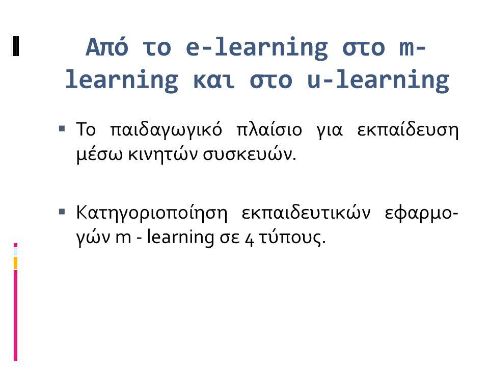 Από το e-learning στο m- learning και στο u-learning  Το παιδαγωγικό πλαίσιο για εκπαίδευση μέσω κινητών συσκευών.  Κατηγοριοποίηση εκπαιδευτικών εφ