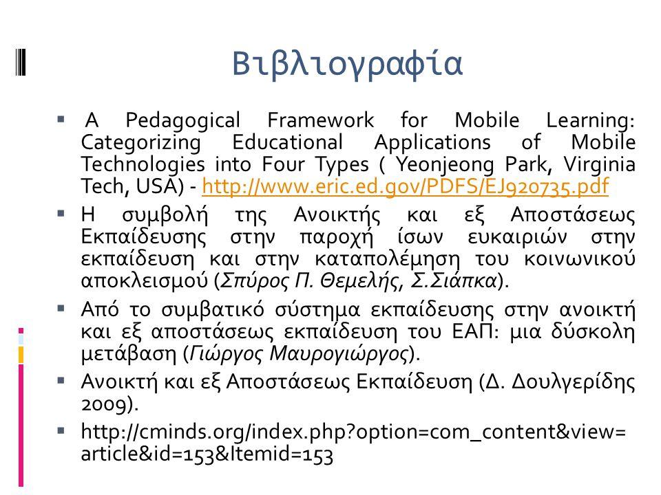 Βιβλιογραφία  A Pedagogical Framework for Mobile Learning: Categorizing Educational Applications of Mobile Technologies into Four Types ( Yeonjeong P