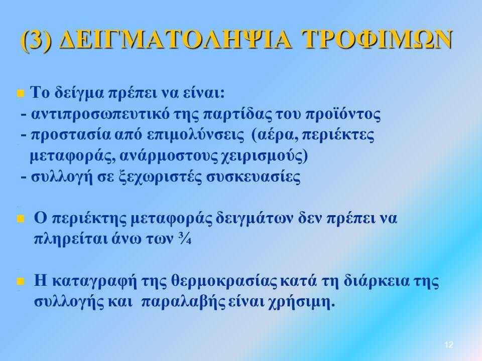 (3) ΔΕΙΓΜΑΤΟΛΗΨΙΑ ΤΡΟΦΙΜΩΝ   Το δείγμα πρέπει να είναι: - αντιπροσωπευτικό της παρτίδας του προϊόντος - προστασία από επιμολύνσεις (αέρα, περιέκτες