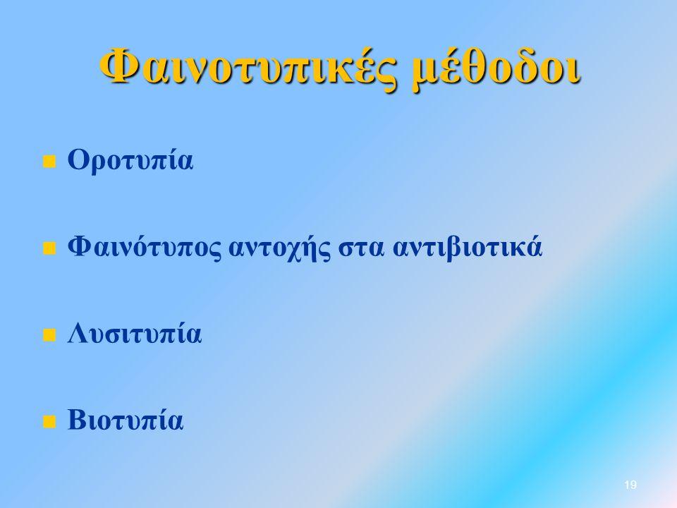 Φαινοτυπικές μέθοδοι   Οροτυπία   Φαινότυπος αντοχής στα αντιβιοτικά   Λυσιτυπία   Βιοτυπία 19