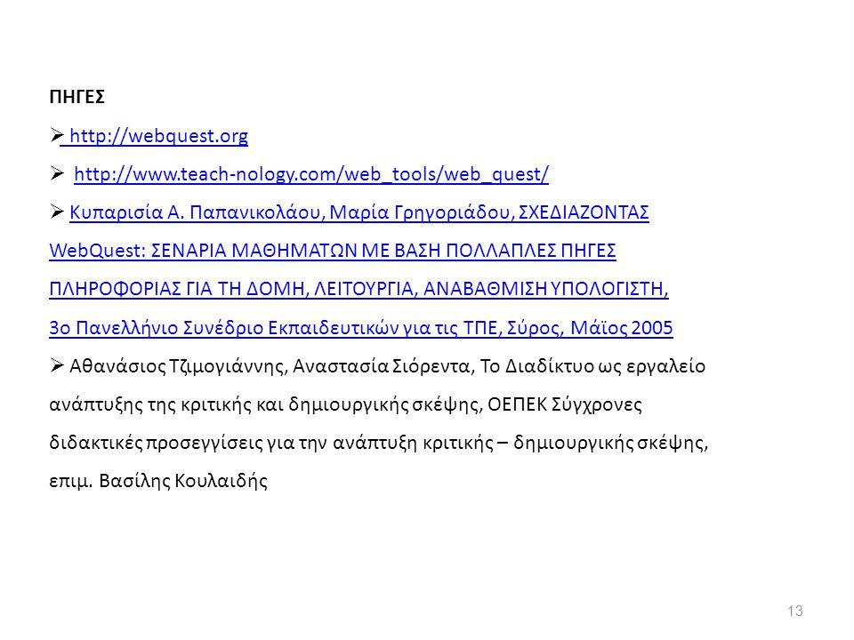 ΠΗΓΕΣ  http://webquest.org http://webquest.org  http://www.teach-nology.com/web_tools/web_quest/http://www.teach-nology.com/web_tools/web_quest/  Κυπαρισία A.