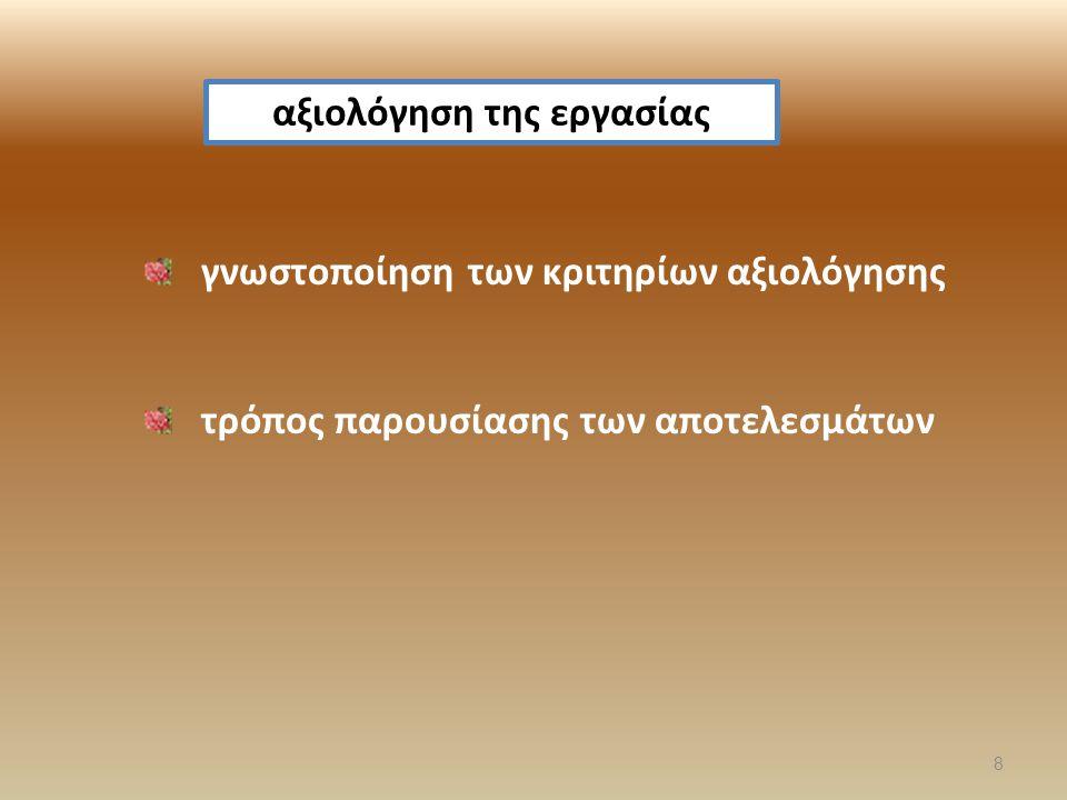 γνωστοποίηση των κριτηρίων αξιολόγησης τρόπος παρουσίασης των αποτελεσμάτων αξιολόγηση της εργασίας 8