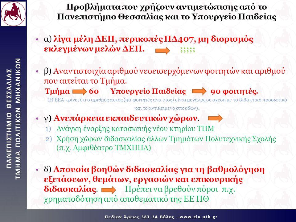 ΠΑΝΕΠΙΣΤΗΜΙΟ ΘΕΣΣΑΛΙΑΣ TMHMA ΠΟΛΙΤΙΚΩΝ ΜΗΧΑΝΙΚΩΝ Πεδίον Άρεως 383 34 Βόλος –www.civ.uth.gr Προβλήματα που χρήζουν αντιμετώπισης από το Πανεπιστήμιο Θεσσαλίας και το Υπουργείο Παιδείας •α) λίγα μέλη ΔΕΠ, περικοπές ΠΔ407, μη διορισμός εκλεγμένων μελών ΔΕΠ.;;;;; •β) Αναντιστοιχία αριθμού νεοεισερχόμενων φοιτητών και αριθμού που αιτείται το Τμήμα.