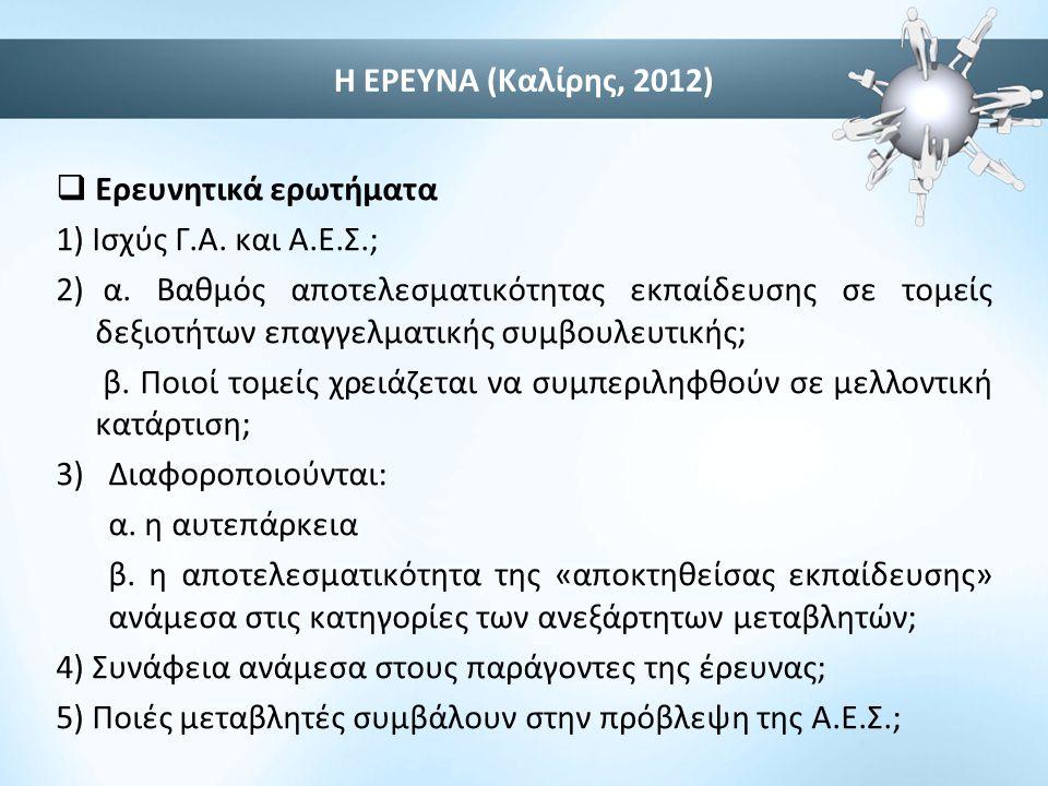 Η ΕΡΕΥΝΑ (Καλίρης, 2012)  Ερευνητικά ερωτήματα 1) Ισχύς Γ.Α. και Α.Ε.Σ.; 2) α. Βαθμός αποτελεσματικότητας εκπαίδευσης σε τομείς δεξιοτήτων επαγγελματ