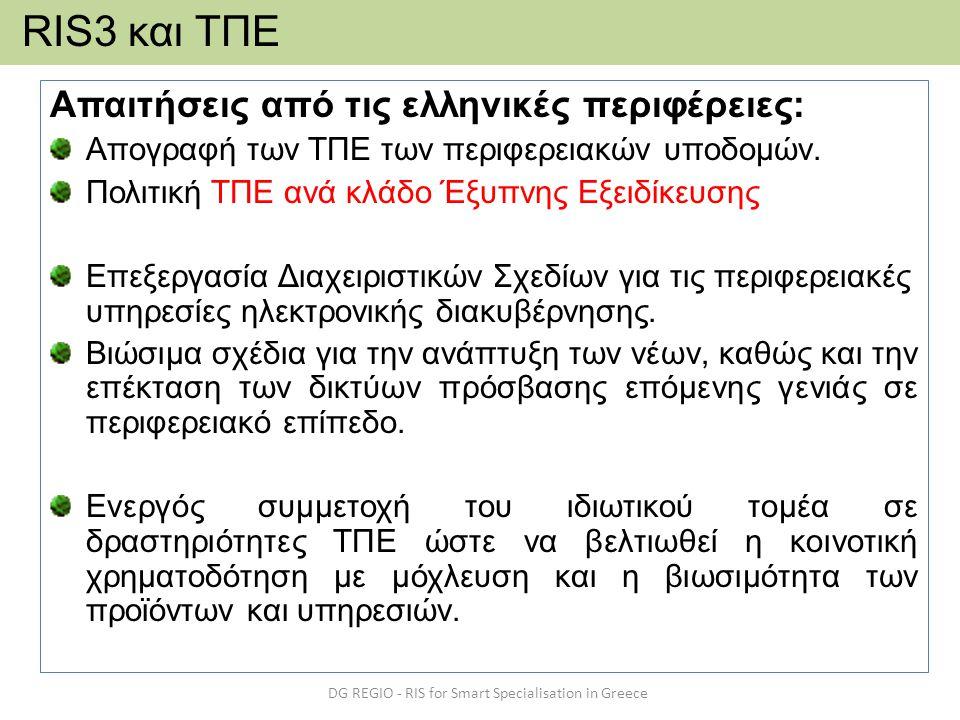 Απαιτήσεις από τις ελληνικές περιφέρειες: Απογραφή των ΤΠΕ των περιφερειακών υποδομών. Πολιτική ΤΠΕ ανά κλάδο Έξυπνης Εξειδίκευσης Επεξεργασία Διαχειρ