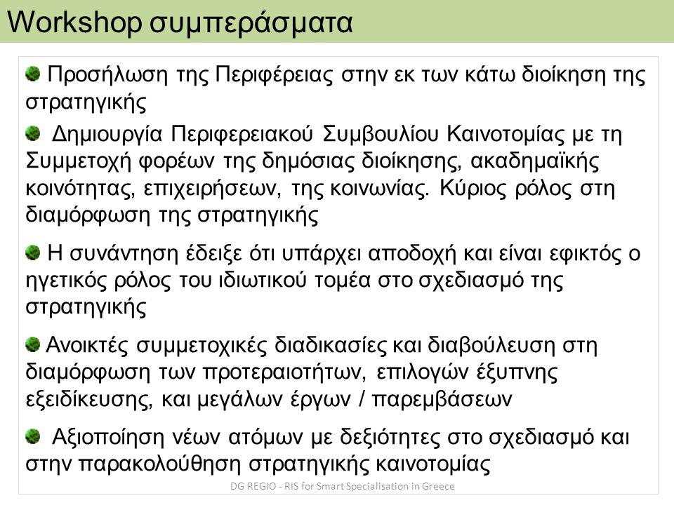 Workshop συμπεράσματα DG REGIO - RIS for Smart Specialisation in Greece Προσήλωση της Περιφέρειας στην εκ των κάτω διοίκηση της στρατηγικής Δημιουργία