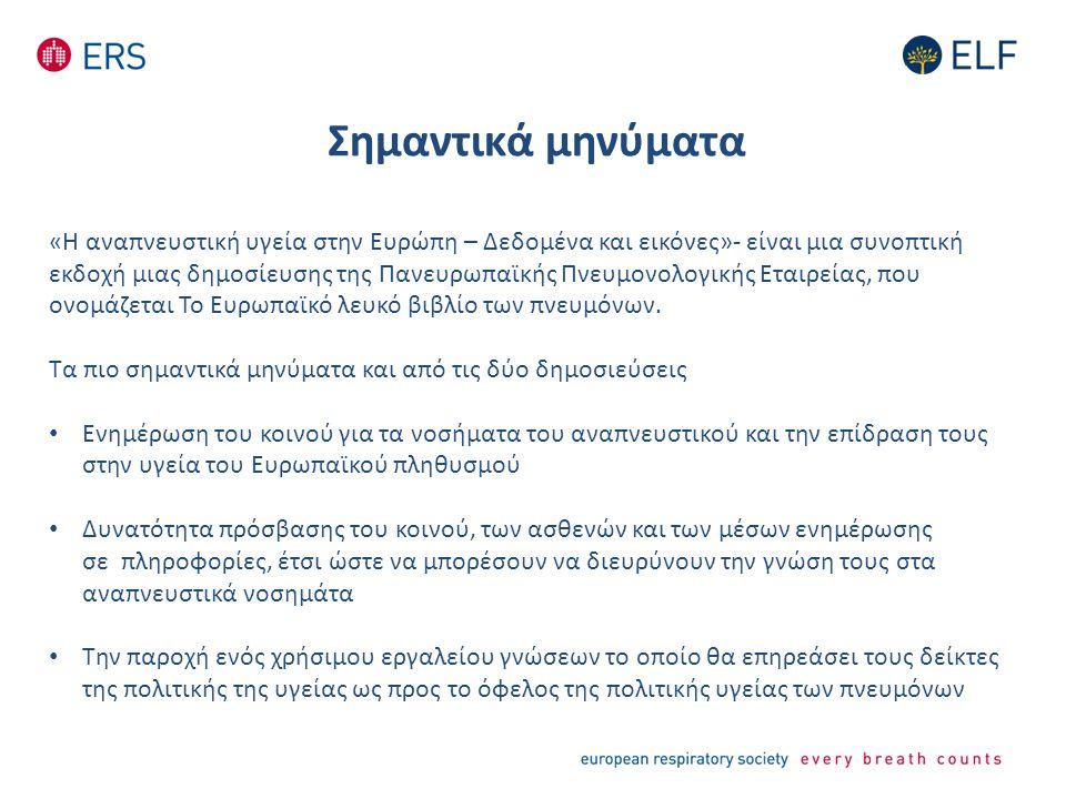 Σημαντικά μηνύματα «Η αναπνευστική υγεία στην Ευρώπη – Δεδομένα και εικόνες»- είναι μια συνοπτική εκδοχή μιας δημοσίευσης της Πανευρωπαϊκής Πνευμονολογικής Εταιρείας, που ονομάζεται Το Ευρωπαϊκό λευκό βιβλίο των πνευμόνων.