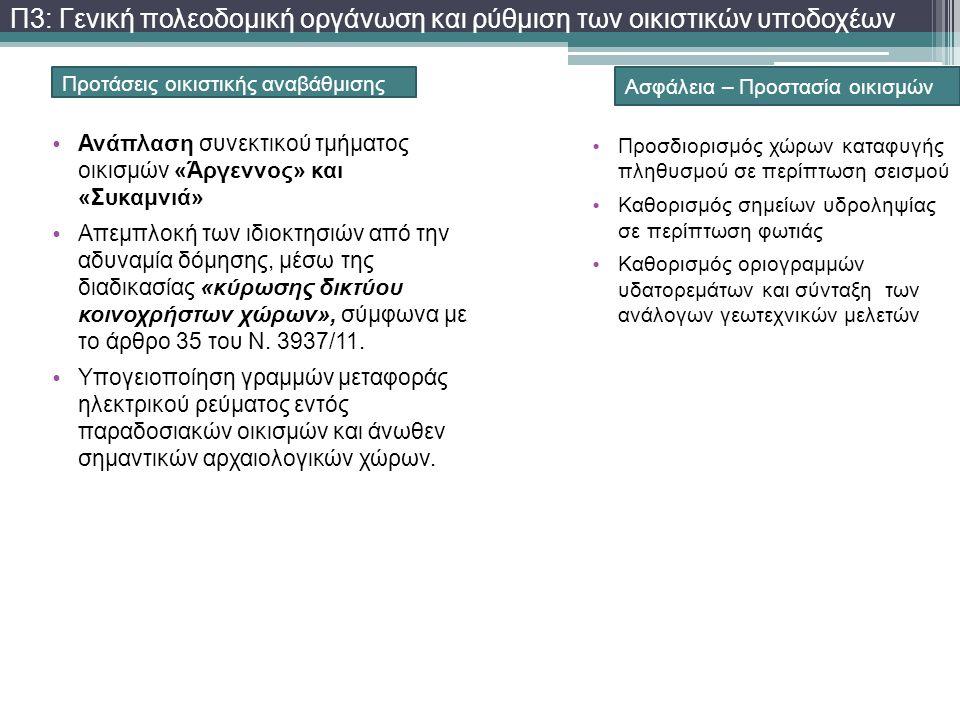 Προτάσεις οικιστικής αναβάθμισης • Ανάπλαση συνεκτικού τμήματος οικισμών «Άργεννος» και «Συκαμνιά» • Απεμπλοκή των ιδιοκτησιών από την αδυναμία δόμηση