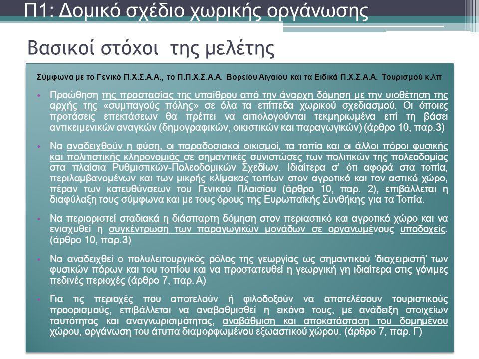 Βασικοί στόχοι της μελέτης Π1: Δομικό σχέδιο χωρικής οργάνωσης