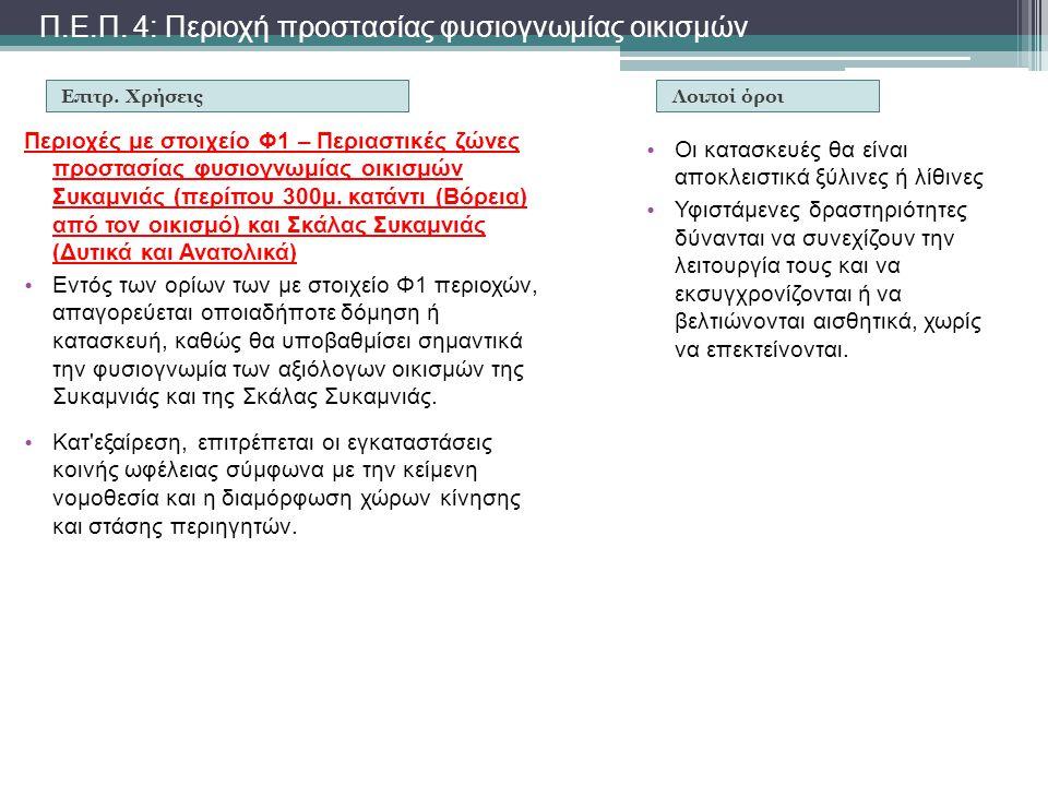 Π.Ε.Π. 4: Περιοχή προστασίας φυσιογνωμίας οικισμών Επιτρ. Χρήσεις Περιοχές με στοιχείο Φ1 – Περιαστικές ζώνες προστασίας φυσιογνωμίας οικισμών Συκαμνι