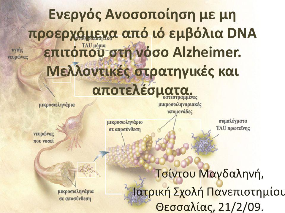 Ενεργός Ανοσοποίηση με μη προερχόμενα από ιό εμβόλια DNA επιτόπου στη νόσο Alzheimer. Μελλοντικές στρατηγικές και αποτελέσματα. Τσίντου Μαγδαληνή, Ιατ