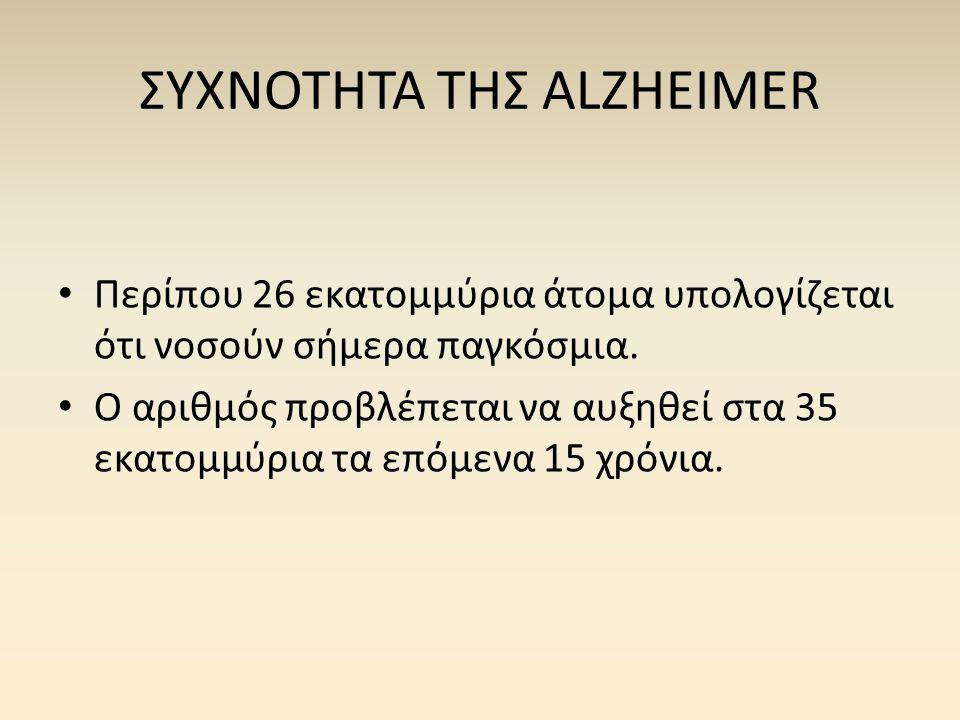 ΣΥΧΝΟΤΗΤΑ ΤΗΣ ALZHEIMER • Περίπου 26 εκατομμύρια άτομα υπολογίζεται ότι νοσούν σήμερα παγκόσμια. • Ο αριθμός προβλέπεται να αυξηθεί στα 35 εκατομμύρια