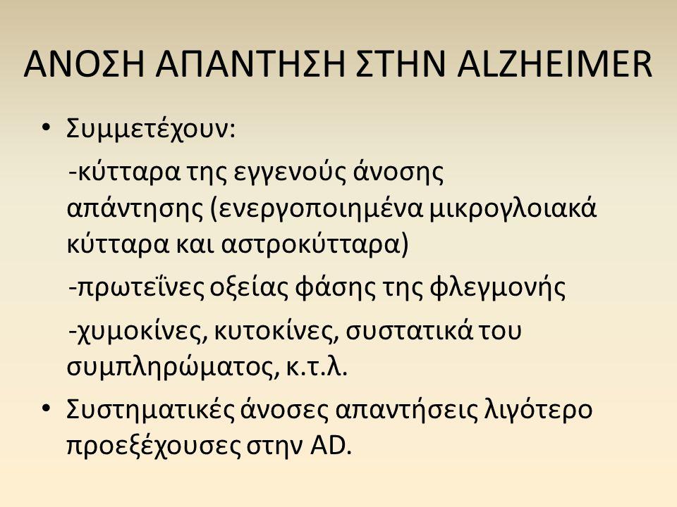 ΑΝΟΣΗ ΑΠΑΝΤΗΣΗ ΣΤΗΝ ALZHEIMER • Συμμετέχουν: -κύτταρα της εγγενούς άνοσης απάντησης (ενεργοποιημένα μικρογλοιακά κύτταρα και αστροκύτταρα) -πρωτεΐνες