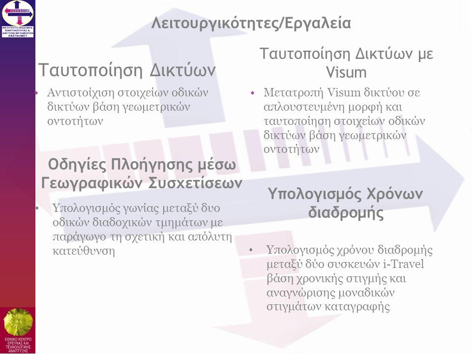 Ταυτοποίηση Δικτύων •Αντιστοίχιση στοιχείων οδικών δικτύων βάση γεωμετρικών οντοτήτων •Μετατροπή Visum δικτύου σε απλουστευμένη μορφή και ταυτοποίηση
