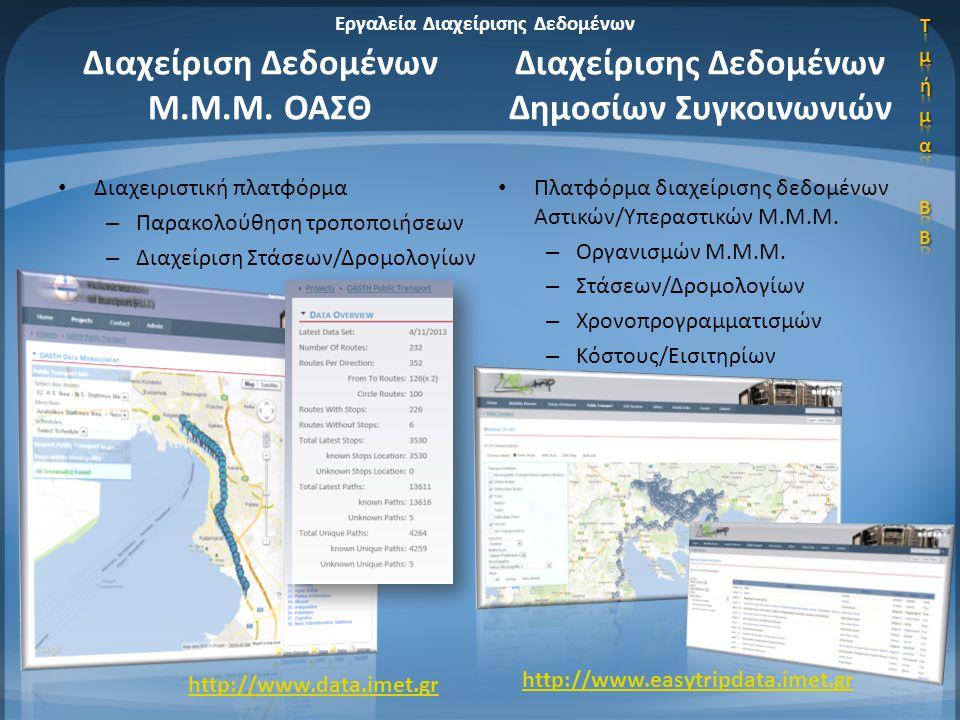 • Διαχειριστική πλατφόρμα – Παρακολούθηση τροποποιήσεων – Διαχείριση Στάσεων/Δρομολογίων • Πλατφόρμα διαχείρισης δεδομένων Αστικών/Υπεραστικών Μ.Μ.Μ.