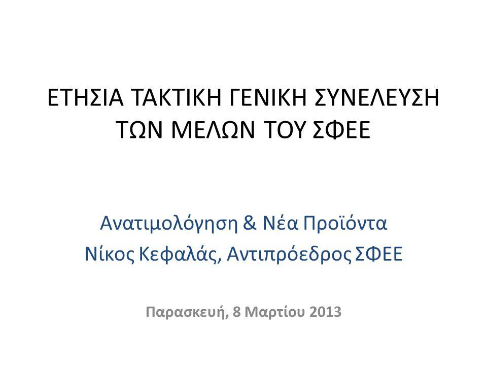 ΕΤΗΣΙΑ ΤΑΚΤΙΚΗ ΓΕΝΙΚΗ ΣΥΝΕΛΕΥΣΗ ΤΩΝ ΜΕΛΩΝ ΤΟΥ ΣΦΕΕ Ανατιμολόγηση & Νέα Προϊόντα Νίκος Κεφαλάς, Αντιπρόεδρος ΣΦΕΕ Παρασκευή, 8 Μαρτίου 2013