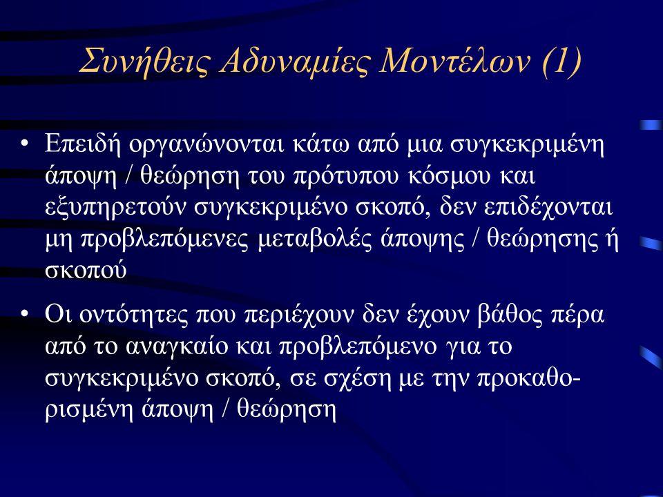 Συνήθεις Αδυναμίες Μοντέλων (1) •Επειδή οργανώνονται κάτω από μια συγκεκριμένη άποψη / θεώρηση του πρότυπου κόσμου και εξυπηρετούν συγκεκριμένο σκοπό, δεν επιδέχονται μη προβλεπόμενες μεταβολές άποψης / θεώρησης ή σκοπού •Οι οντότητες που περιέχουν δεν έχουν βάθος πέρα από το αναγκαίο και προβλεπόμενο για το συγκεκριμένο σκοπό, σε σχέση με την προκαθο- ρισμένη άποψη / θεώρηση