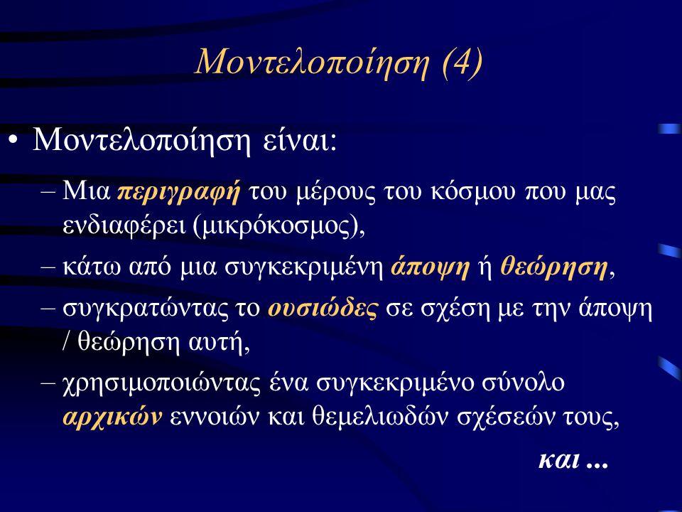 Δυναμική Μοντελοποίηση (2) •Επιπρόσθετα, όταν το μοντέλο αφορά γνώση: –Εξέλιξη της υφιστάμενης αντικειμενικής γνώσης στον πραγμ.