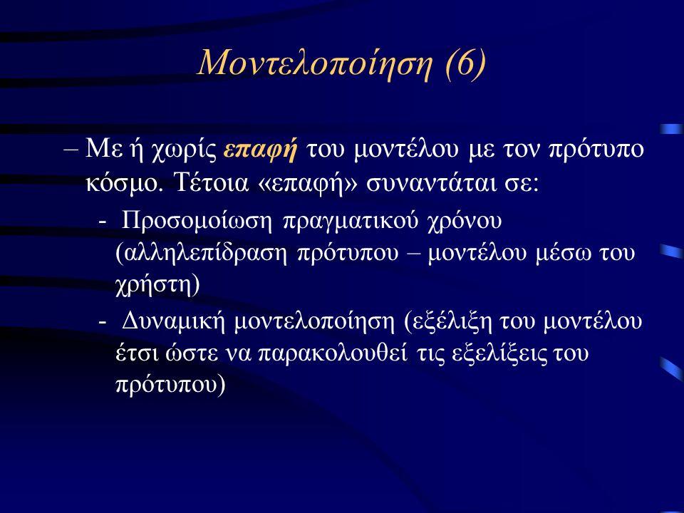 Μοντελοποίηση (6) –Με ή χωρίς επαφή του μοντέλου με τον πρότυπο κόσμο.