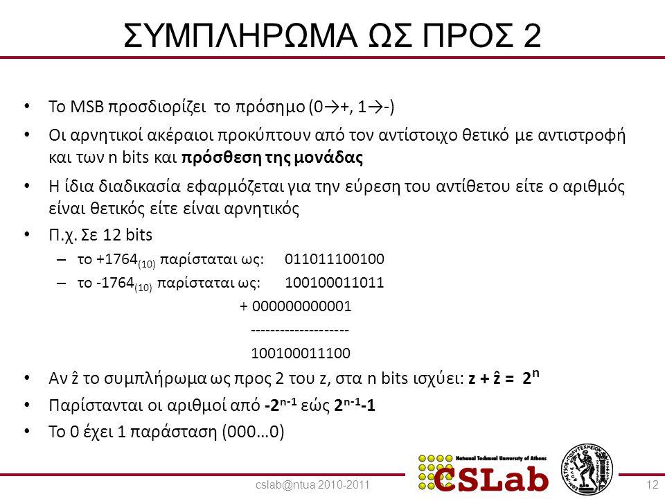 23/6/2014 ΣΥΜΠΛΗΡΩΜΑ ΩΣ ΠΡΟΣ 2 • To MSB προσδιορίζει το πρόσημο (0→+, 1→-) • Οι αρνητικοί ακέραιοι προκύπτουν από τον αντίστοιχο θετικό με αντιστροφή