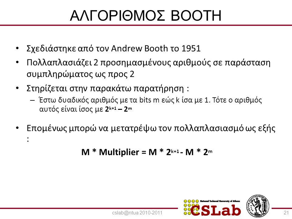 23/6/2014 ΑΛΓΟΡΙΘΜΟΣ BOOTH • Σχεδιάστηκε από τον Andrew Booth το 1951 • Πολλαπλασιάζει 2 προσημασμένους αριθμούς σε παράσταση συμπληρώματος ως προς 2