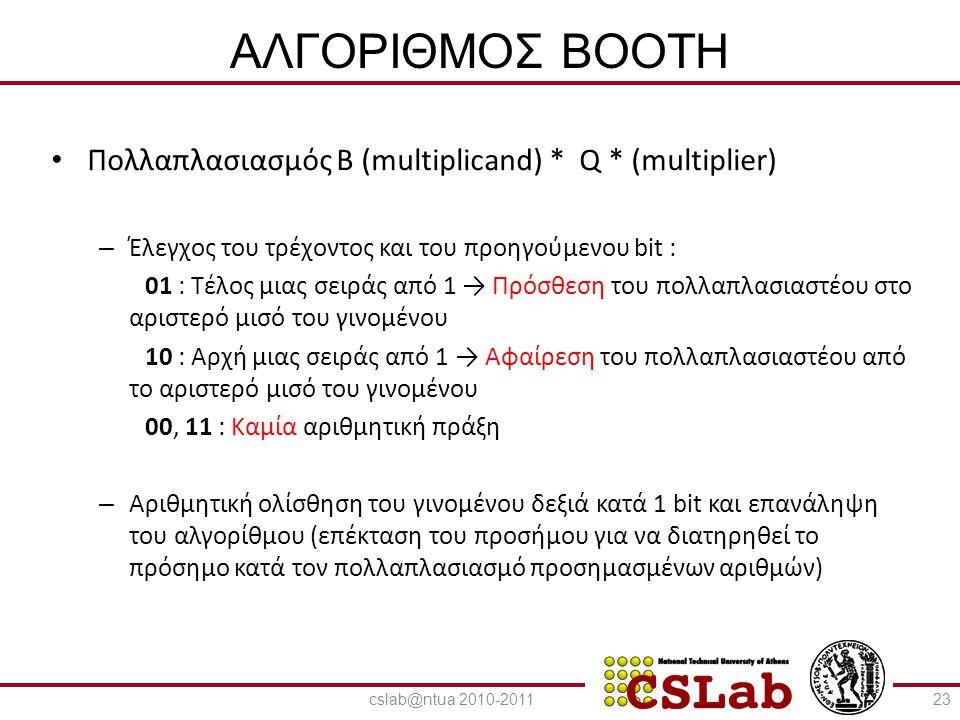 23/6/2014 ΑΛΓΟΡΙΘΜΟΣ BOOTH • Πολλαπλασιασμός Β (multiplicand) * Q * (multiplier) – Έλεγχος του τρέχοντος και του προηγούμενου bit : 01 : Τέλος μιας σε