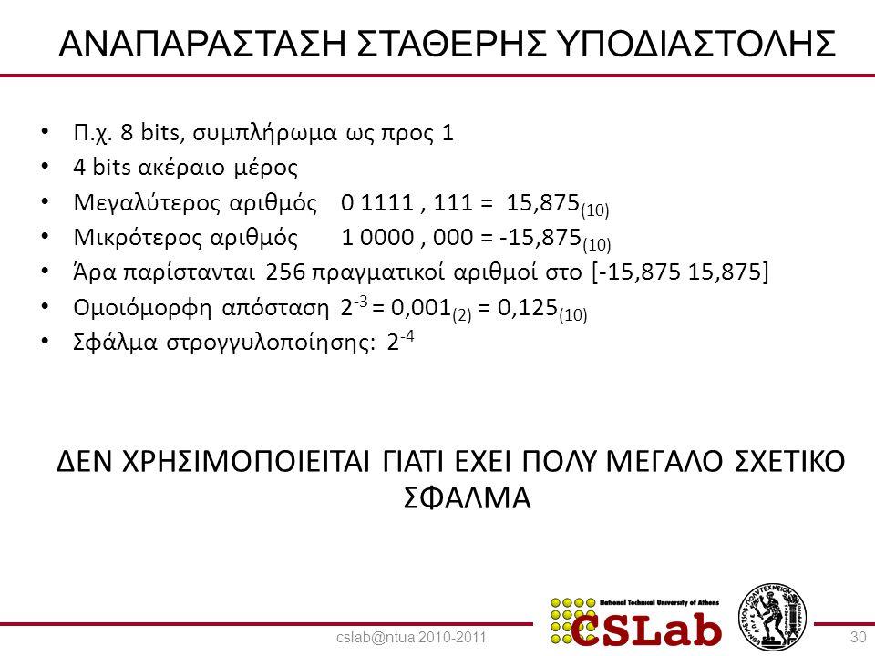 23/6/2014 ΑΝΑΠΑΡΑΣΤΑΣΗ ΣΤΑΘΕΡΗΣ ΥΠΟΔΙΑΣΤΟΛΗΣ • Π.χ. 8 bits, συμπλήρωμα ως προς 1 • 4 bits ακέραιο μέρος • Μεγαλύτερος αριθμός0 1111, 111 = 15,875 (10)