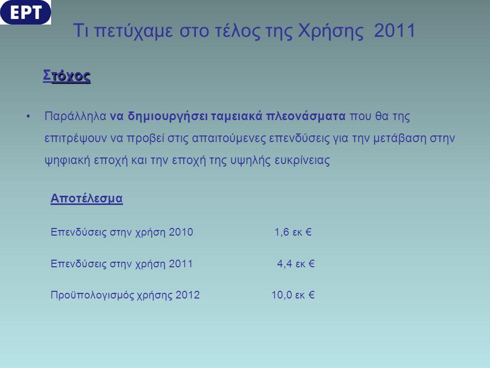 Τι πετύχαμε στο τέλος της Χρήσης 2011 τόχος Στόχος •Παράλληλα να δημιουργήσει ταμειακά πλεονάσματα που θα της επιτρέψουν να προβεί στις απαιτούμενες ε