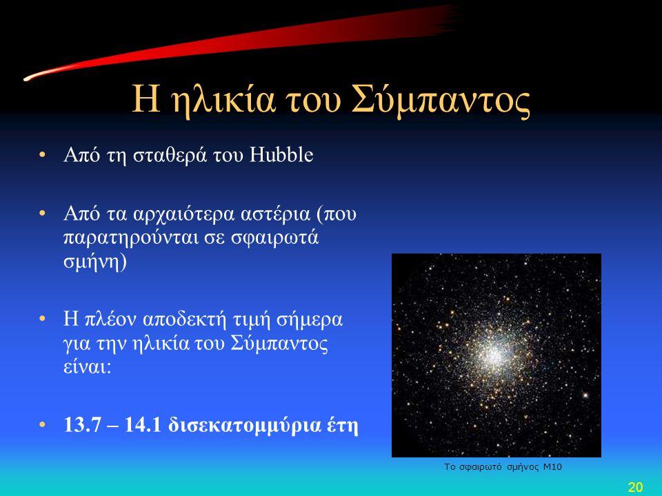 20 Η ηλικία του Σύμπαντος •Από τη σταθερά του Hubble •Από τα αρχαιότερα αστέρια (που παρατηρούνται σε σφαιρωτά σμήνη) •Η πλέον αποδεκτή τιμή σήμερα γι