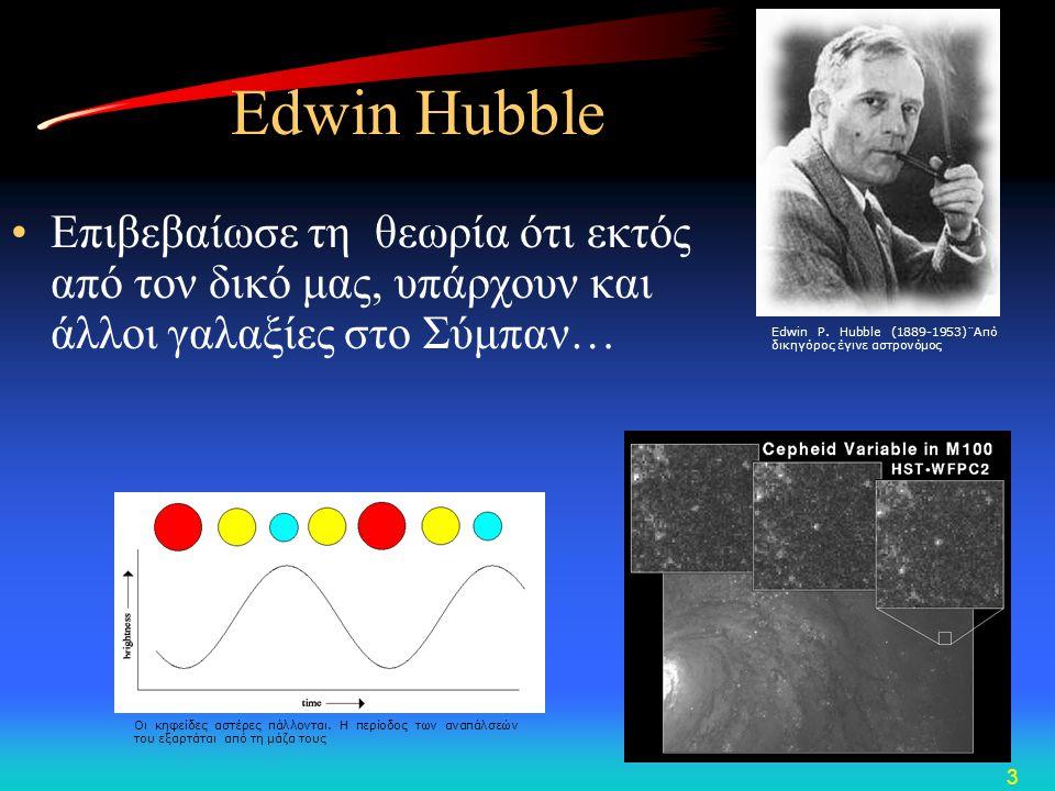 4 Διαστολή του Σύμπαντος Όταν ένας γαλαξίας απομακρύνεται, το φως που εκπέμπει μετατοπίζεται προς το ερυθρό Ο Edwin Hubble μέτρησε τις φασματικές γραμμές πολλών γαλαξιών και βρήκε ότι οι φασματικές γραμμές τους είναι μετατοπισμένες προς το ερυθρό.