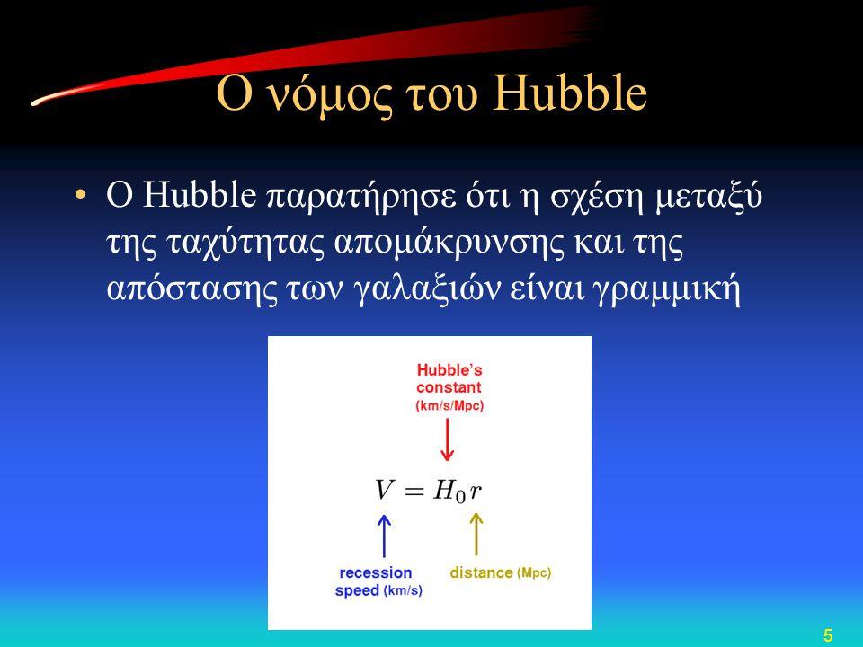 5 Ο νόμος του Hubble •O Hubble παρατήρησε ότι η σχέση μεταξύ της ταχύτητας απομάκρυνσης και της απόστασης των γαλαξιών είναι γραμμική