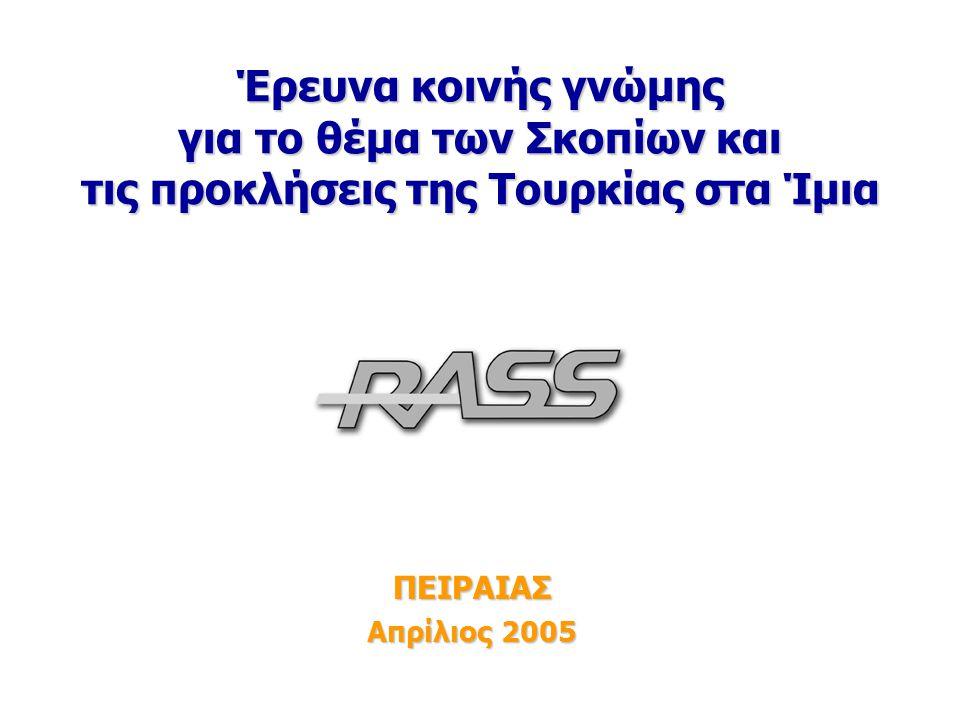 1 Έρευνα 13-14/4 Έρευνα κοινής γνώμης για το θέμα των Σκοπίων και τις προκλήσεις της Τουρκίας στα Ίμια ΠΕΙΡΑΙΑΣ Απρίλιος 2005