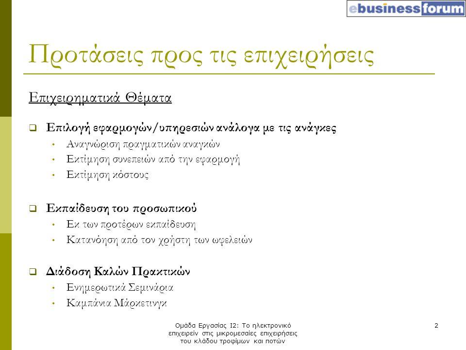 Ομάδα Εργασίας Ι2: Το ηλεκτρονικό επιχειρείν στις μικρομεσαίες επιχειρήσεις του κλάδου τροφίμων και ποτών 2 Επιχειρηματικά Θέματα  Επιλογή εφαρμογών/