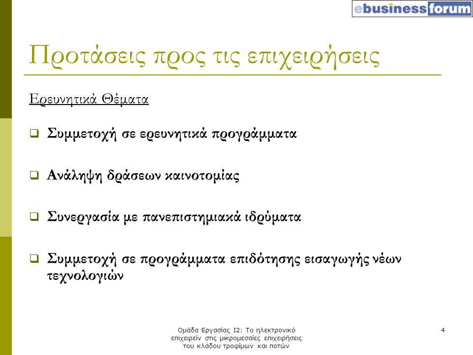 Ομάδα Εργασίας Ι2: Το ηλεκτρονικό επιχειρείν στις μικρομεσαίες επιχειρήσεις του κλάδου τροφίμων και ποτών 4 Ερευνητικά Θέματα  Συμμετοχή σε ερευνητικ