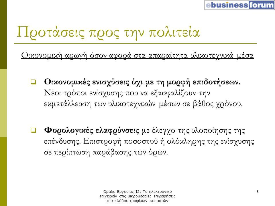 Ομάδα Εργασίας Ι2: Το ηλεκτρονικό επιχειρείν στις μικρομεσαίες επιχειρήσεις του κλάδου τροφίμων και ποτών 8 Οικονομική αρωγή όσον αφορά στα απαραίτητα