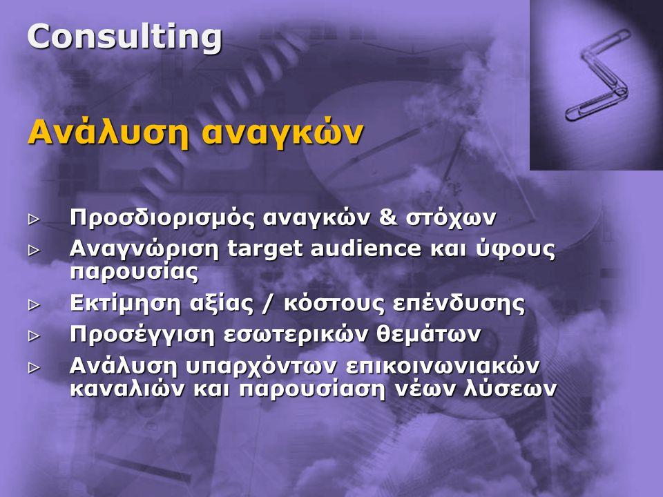 Consulting Ανάλυση αναγκών  Προσδιορισμός αναγκών & στόχων  Αναγνώριση target audience και ύφους παρουσίας  Εκτίμηση αξίας / κόστους επένδυσης  Προσέγγιση εσωτερικών θεμάτων  Ανάλυση υπαρχόντων επικοινωνιακών καναλιών και παρουσίαση νέων λύσεων