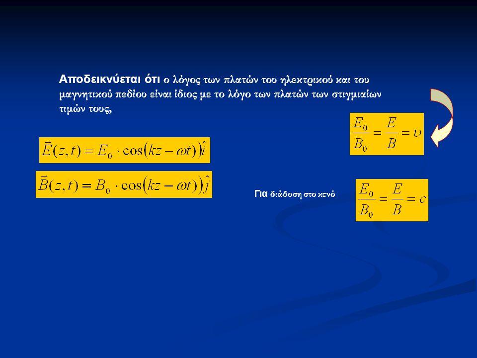 Αποδεικνύεται ότι ο λόγος των πλατών του ηλεκτρικού και του μαγνητικού πεδίου είναι ίδιος με το λόγο των πλατών των στιγμιαίων τιμών τους, Για διάδοση στο κενό