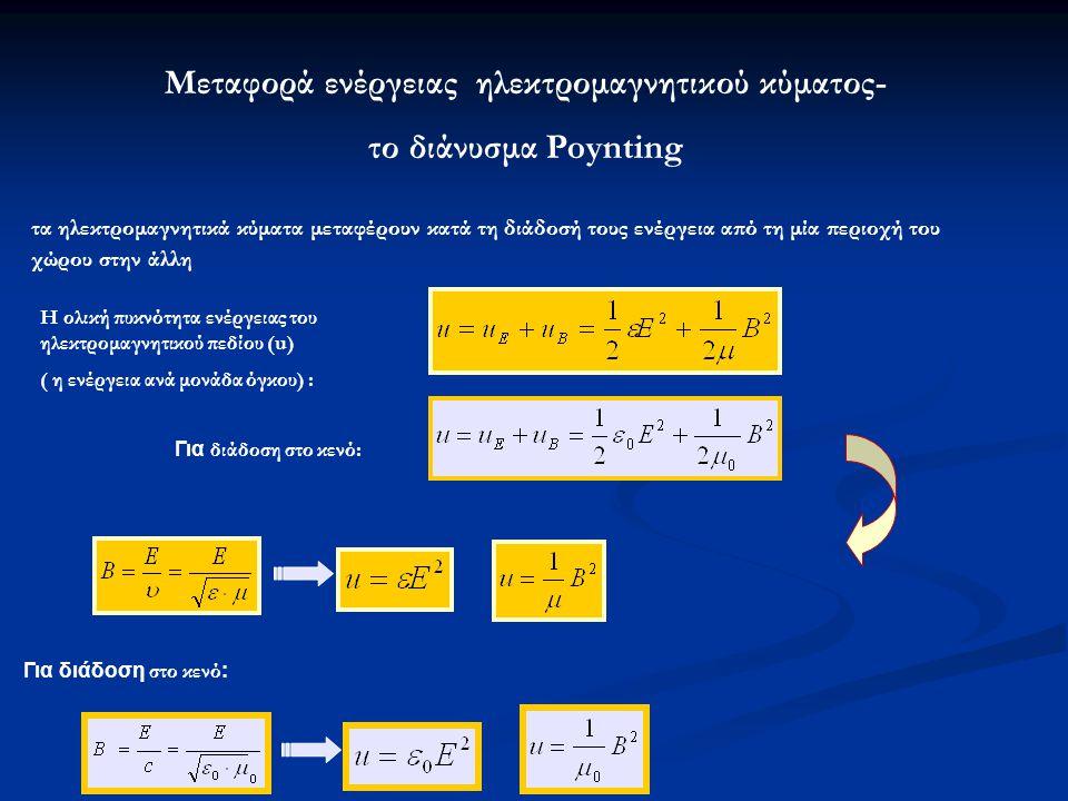 Μεταφορά ενέργειας ηλεκτρομαγνητικού κύματος- το διάνυσμα Poynting τα ηλεκτρομαγνητικά κύματα μεταφέρουν κατά τη διάδοσή τους ενέργεια από τη μία περιοχή του χώρου στην άλλη Η ολική πυκνότητα ενέργειας του ηλεκτρομαγνητικού πεδίου (u) ( η ενέργεια ανά μονάδα όγκου) : Για διάδοση στο κενό: