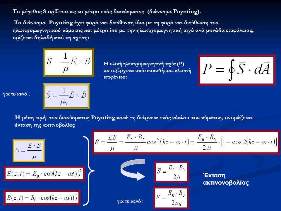 Το μέγεθος S ορίζεται ως το μέτρο ενός διανύσματος (διάνυσμα Poynting).