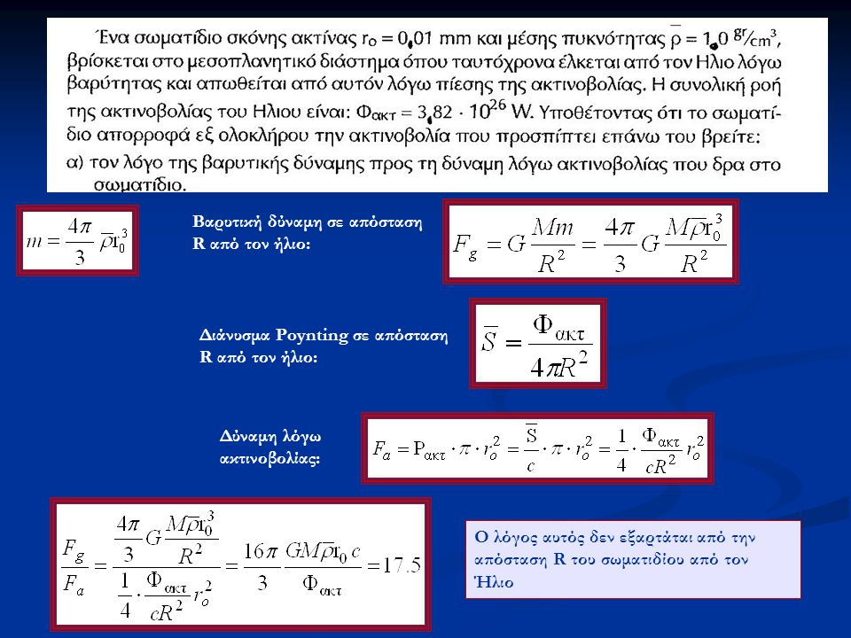 Βαρυτική δύναμη σε απόσταση R από τον ήλιο: Διάνυσμα Poynting σε απόσταση R από τον ήλιο: Δύναμη λόγω ακτινοβολίας: Ο λόγος αυτός δεν εξαρτάται από την απόσταση R του σωματιδίου από τον Ήλιο