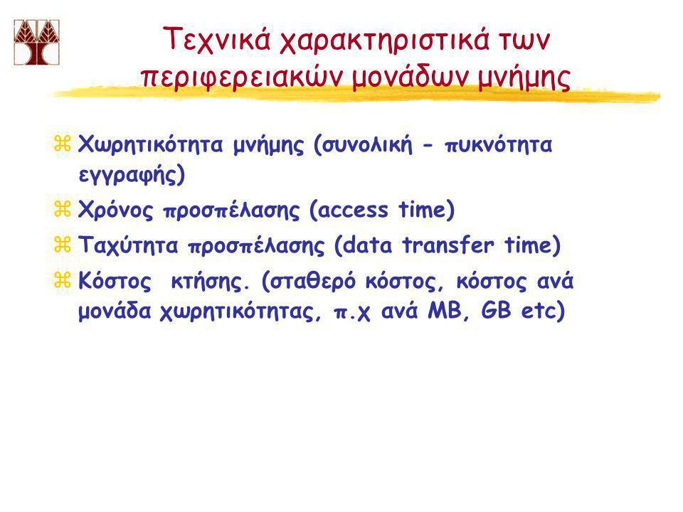 Τεχνικά χαρακτηριστικά των περιφερειακών μονάδων μνήμης zΧωρητικότητα μνήμης (συνολική - πυκνότητα εγγραφής) zΧρόνος προσπέλασης (access time) zΤαχύτητα προσπέλασης (data transfer time) zΚόστος κτήσης.