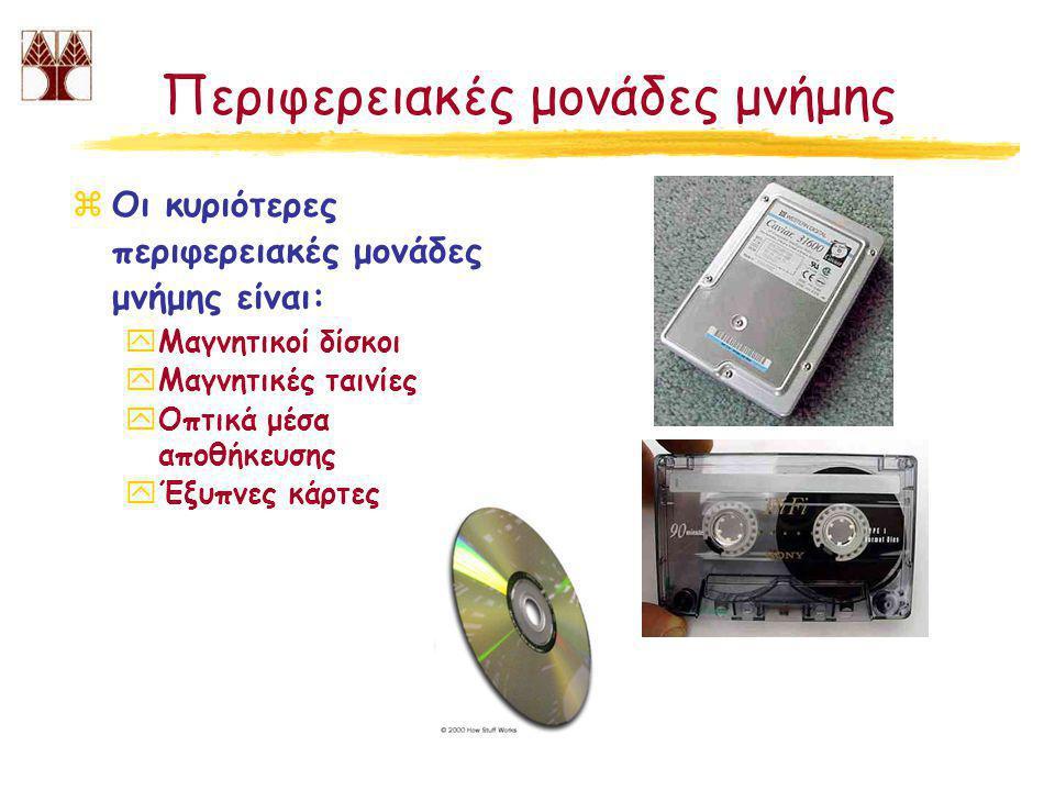 Περιφερειακές μονάδες μνήμης zΟι κυριότερες περιφερειακές μονάδες μνήμης είναι: yΜαγνητικοί δίσκοι yΜαγνητικές ταινίες yΟπτικά μέσα αποθήκευσης yΈξυπνες κάρτες
