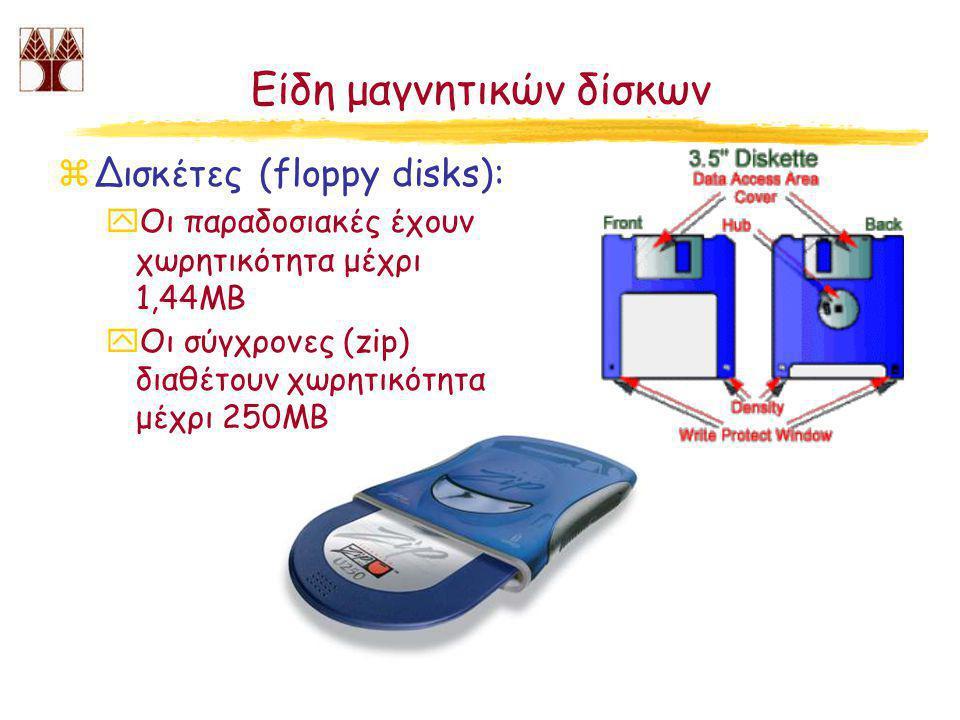 Είδη μαγνητικών δίσκων zΔισκέτες (floppy disks): yΟι παραδοσιακές έχουν χωρητικότητα μέχρι 1,44MB yΟι σύγχρονες (zip) διαθέτουν χωρητικότητα μέχρι 250MB