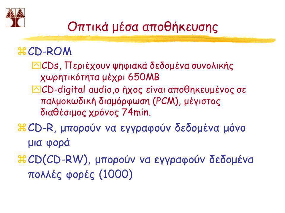 Οπτικά μέσα αποθήκευσης zCD-ROM yCDs, Περιέχουν ψηφιακά δεδομένα συνολικής χωρητικότητα μέχρι 650ΜΒ yCD-digital audio,ο ήχος είναι αποθηκευμένος σε παλμοκωδική διαμόρφωση (PCM), μέγιστος διαθέσιμος χρόνος 74min.