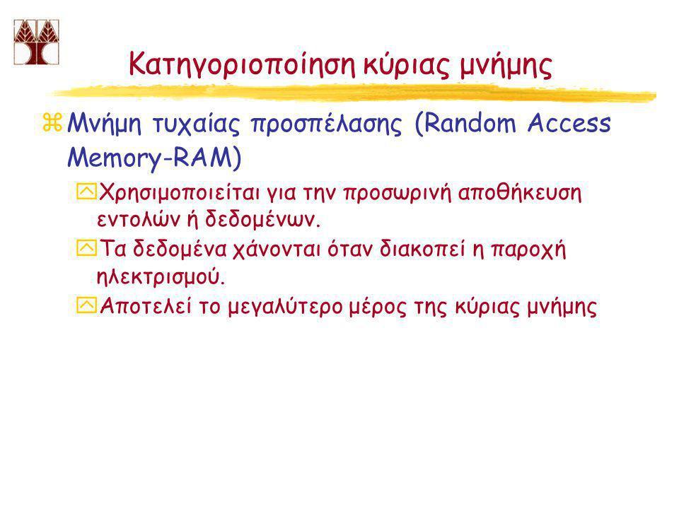 Κατηγοριοποίηση κύριας μνήμης zΜνήμη τυχαίας προσπέλασης (Random Access Memory-RAM) yΧρησιμοποιείται για την προσωρινή αποθήκευση εντολών ή δεδομένων.