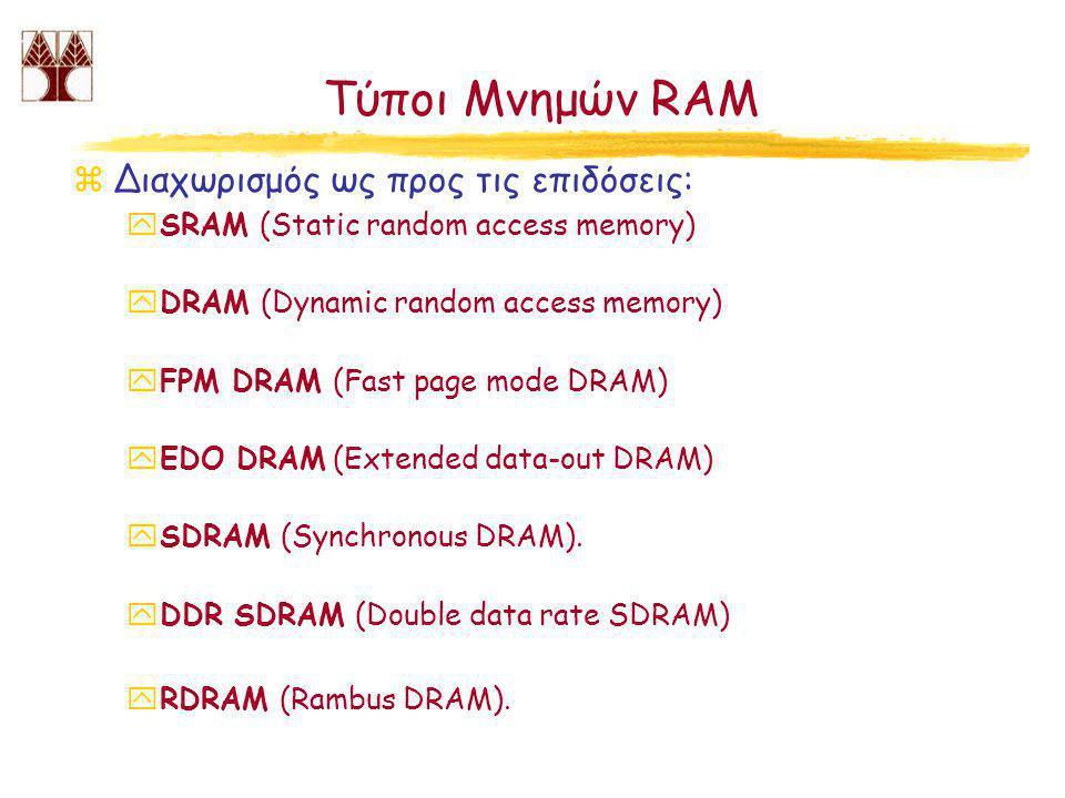 Τύποι Μνημών RAM zΔιαχωρισμός ως προς τις επιδόσεις: ySRAM (Static random access memory) yDRAM (Dynamic random access memory) yFPM DRAM (Fast page mode DRAM) yEDO DRAM (Extended data-out DRAM) ySDRAM (Synchronous DRAM).